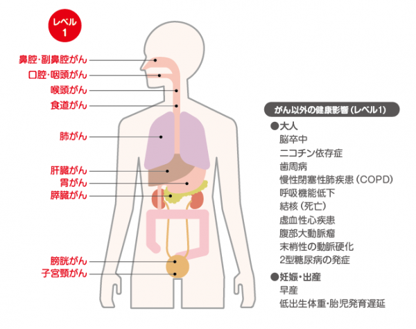 たばこを吸っている本人がなりやすいがんの種類(科学的に明らかなもの:レベル1※1)
